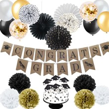 34pcs Graduation Party Backdrop With Balloon Cake Toppers Hanging Banner For Decorations