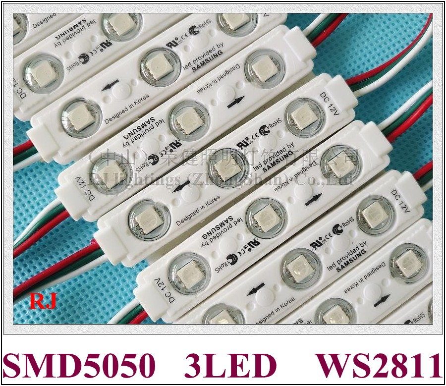 IC WS2811 SM16703 LED module light for sign letters with lens SMD 5050 RGB DC12V 3led