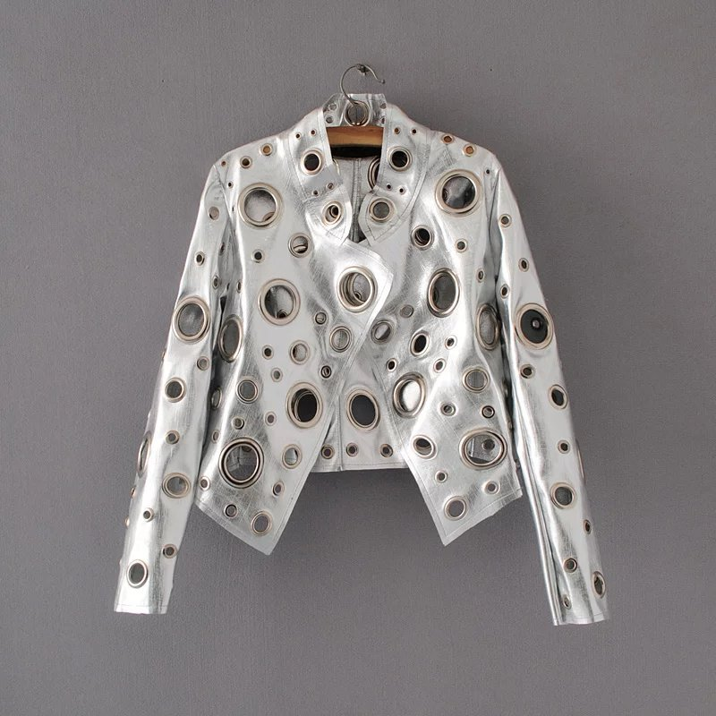 Short Women Fashionable Personality Hollow Hole Rivet Rock Faux Silver   Leather   Jacket Motorcycle Biker PU   Leather   Jacket