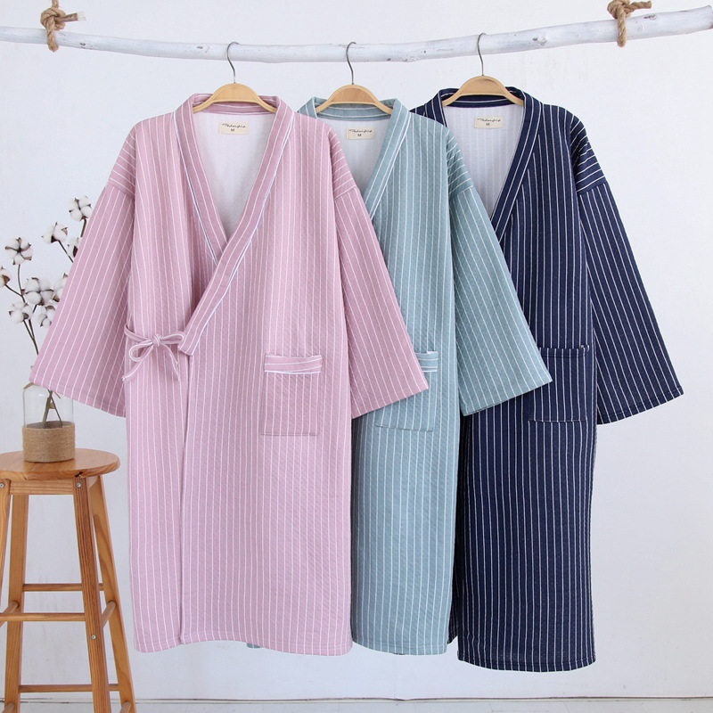 Men's Sleep & Lounge 2019 Child Kid Japanese Kimono Yukata Bathrobe Matching Belt Stripe Pajamas Cotton Robe Clothing Long Summer New