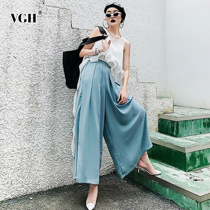 VGH Spring Women Pants High Waist Trousers For Women Ruched Long Wide Leg Pants Basic Loose Casual Summer Female Clothing 2019