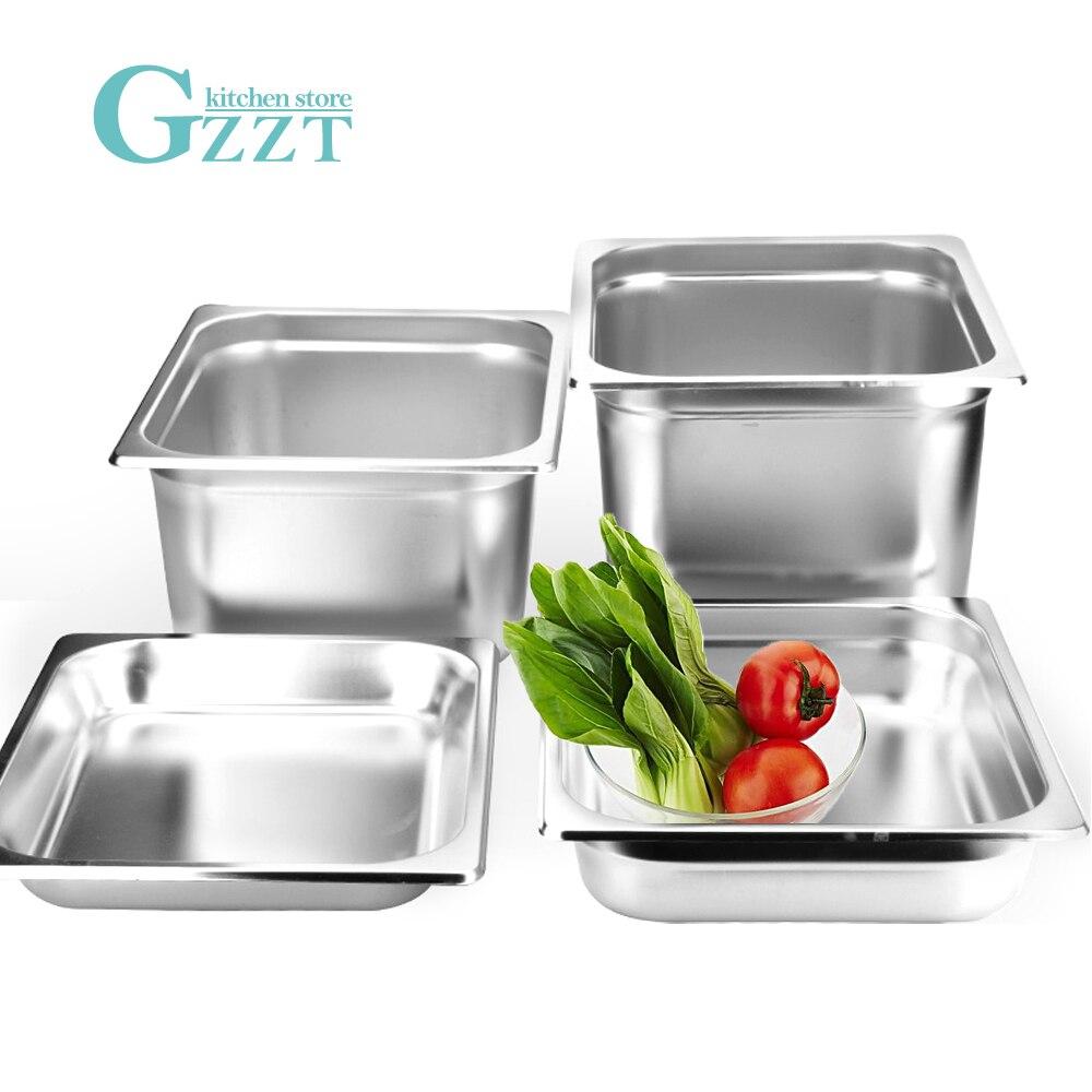 GZZT 1 шт., набор тарелок из нержавеющей стали 1/2 GN для буфета, ресторана, коммерческих кухонных инструментов, тарелки для супа, миска с крышкой