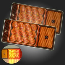 1Pair Yellow 12-24V 6 LED Car Bus Truck Trailer Lorry Side M