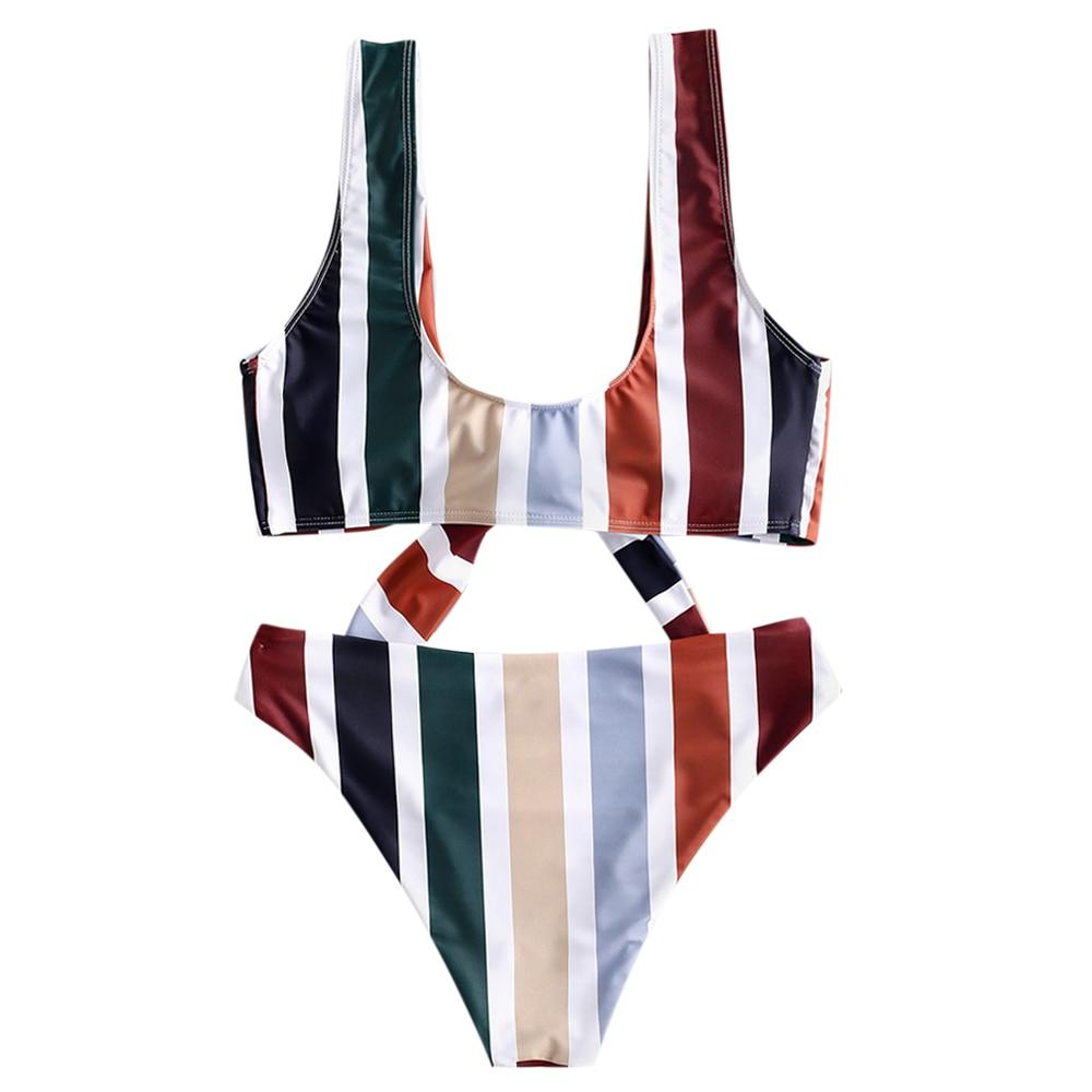 ZAFUL femmes rayures verticales imprimer Sexy maillot de plage mode séchage rapide deux pièces Bikini push-up soutien-gorge noué maillot de bain ensemble - 3