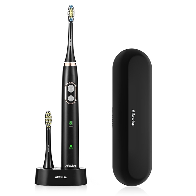 Alfawise BH - 126 Sonic Electric Toothbrush Smart Timer 5 Brushing Modes with 2 Brush Heads
