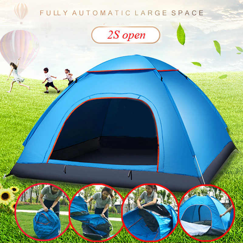 2-3 Person Portable Outdoor Foldable Tent Waterproof Automatic Instant Open Camping Hiking Fishing Travel Tent Anti UV Sun Shade