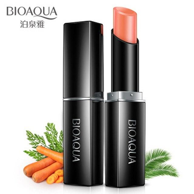 BIOAQUA zanahoria bálsamo labial Natural Aloe hidratante crema de labios incolora Reparación de arrugas de labios cuidado de labios 3,8g