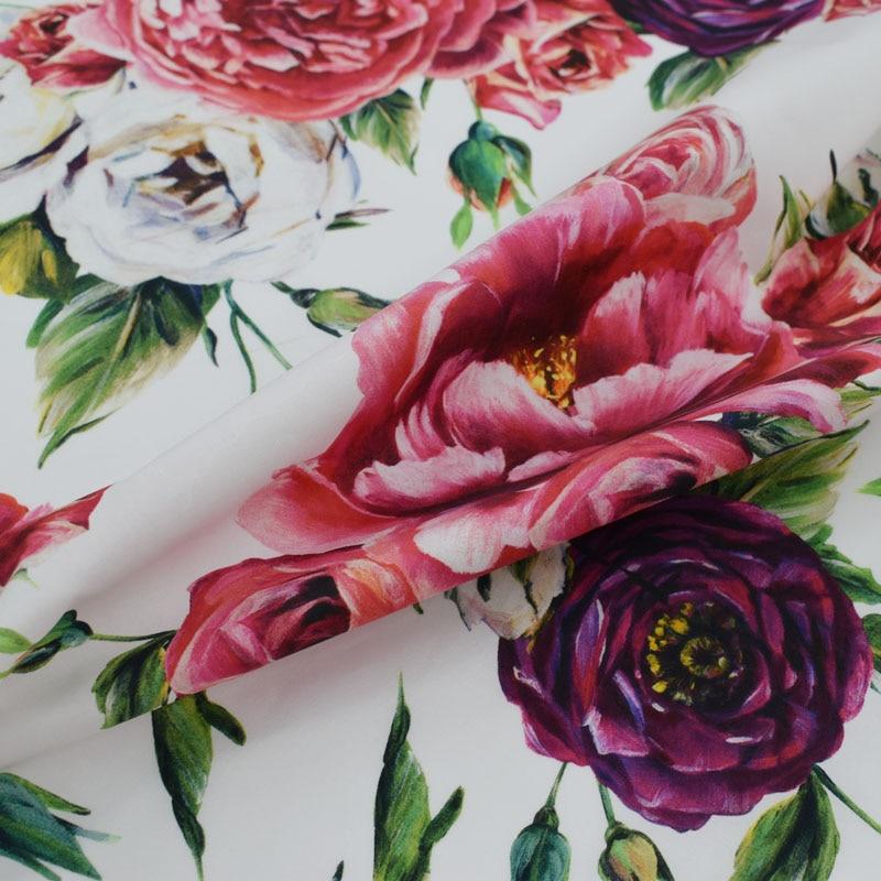Peinture numérique pivoine roses pur coton tissu pour robe d'été tissu au mètre telas por metros tecido tela shabby chic tissus