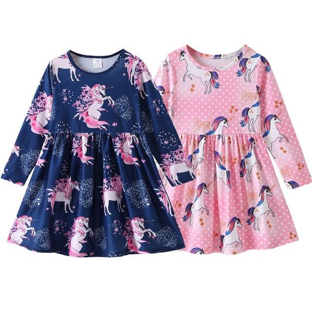 Kids Infant Unicorn Floral Party Dresses Toddler Autumn Spring Clothes