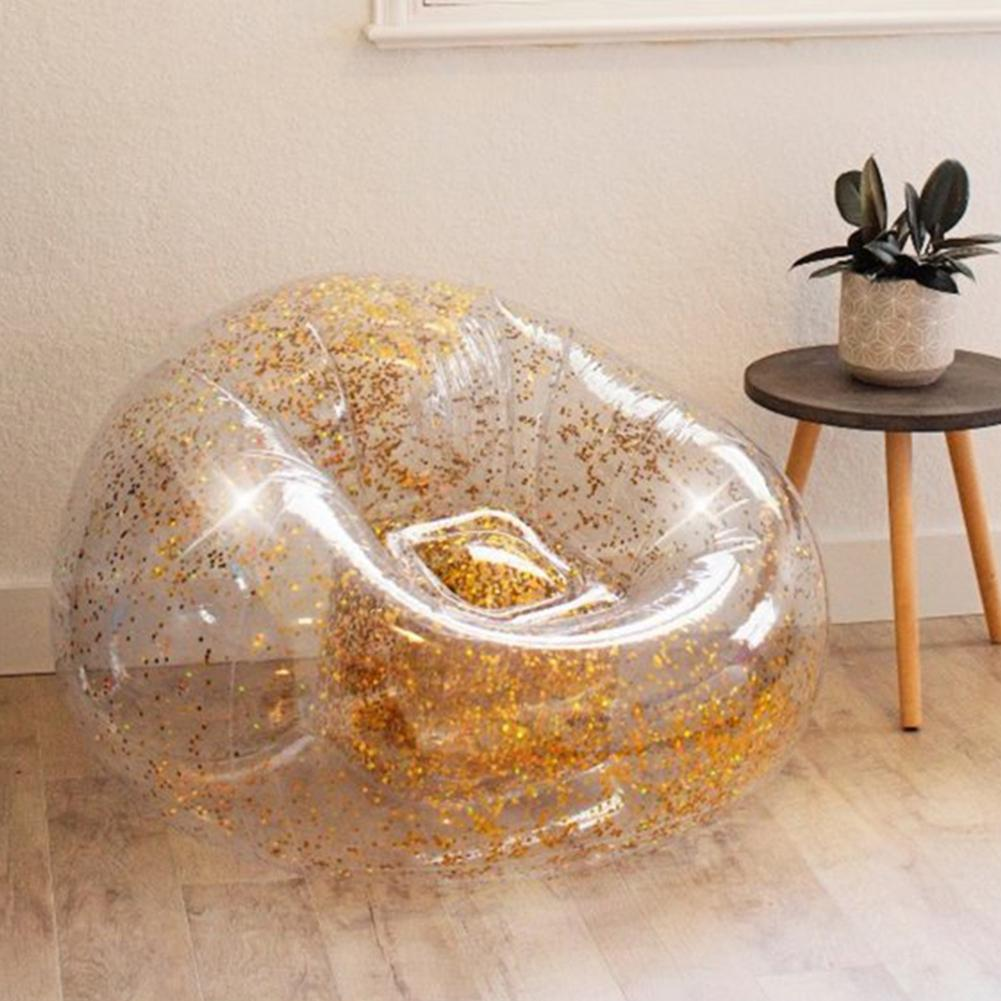 Multi purpose Confetti Glitter Inflatable Lounger Lazy Bag Air Sofa Waterproof Rose Gold Glitter Inflatable Chair
