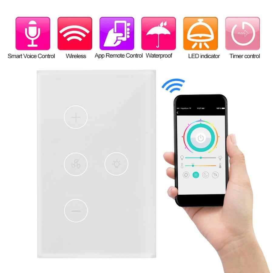 WiFi Smart Ceiling Fan Controller Wall Switch Touch Panel US Plug AC100V-240V