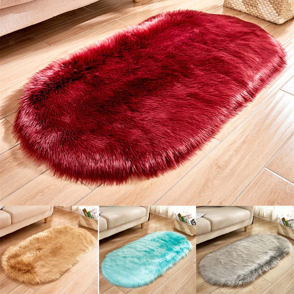 120x50cm Non Slip Oval Plush Area Rug 7 Colors Living Room Carpet Home Hotel Bedroom Floor Mat Pad Hallway Rugs Decoration