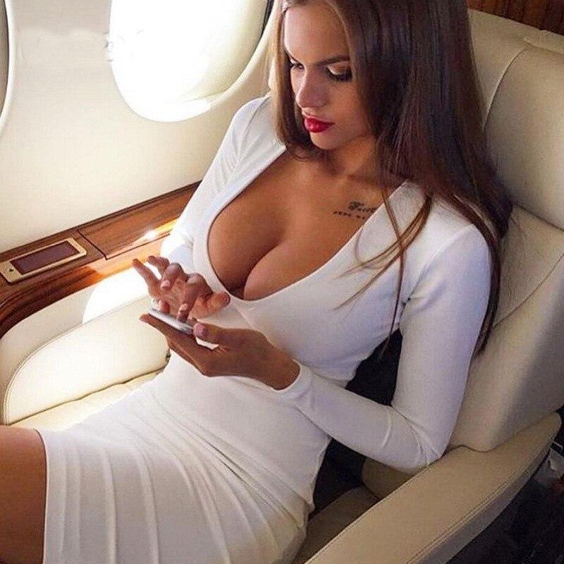 Printemps Automne Blanc tenue De fête 2019 Robes De Fiesta Encolure en v à manches longues Sexy Femmes robe lacée tenue De club robe moulante