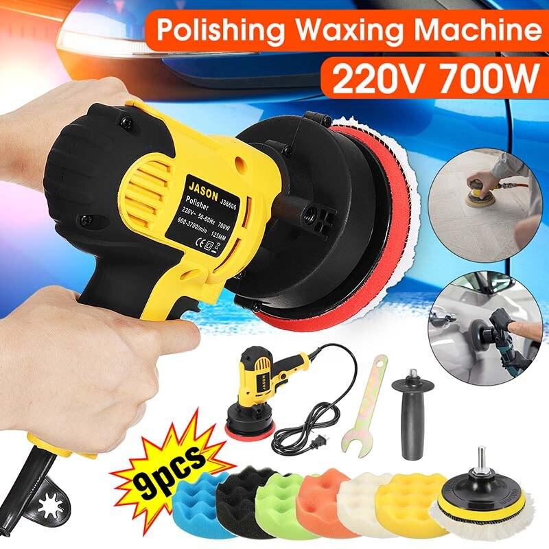 Electric Car Polishing Machine+9pcs Polisher Pad Auto Polishing Machine Adjustable Speed Sanding Waxing Tools