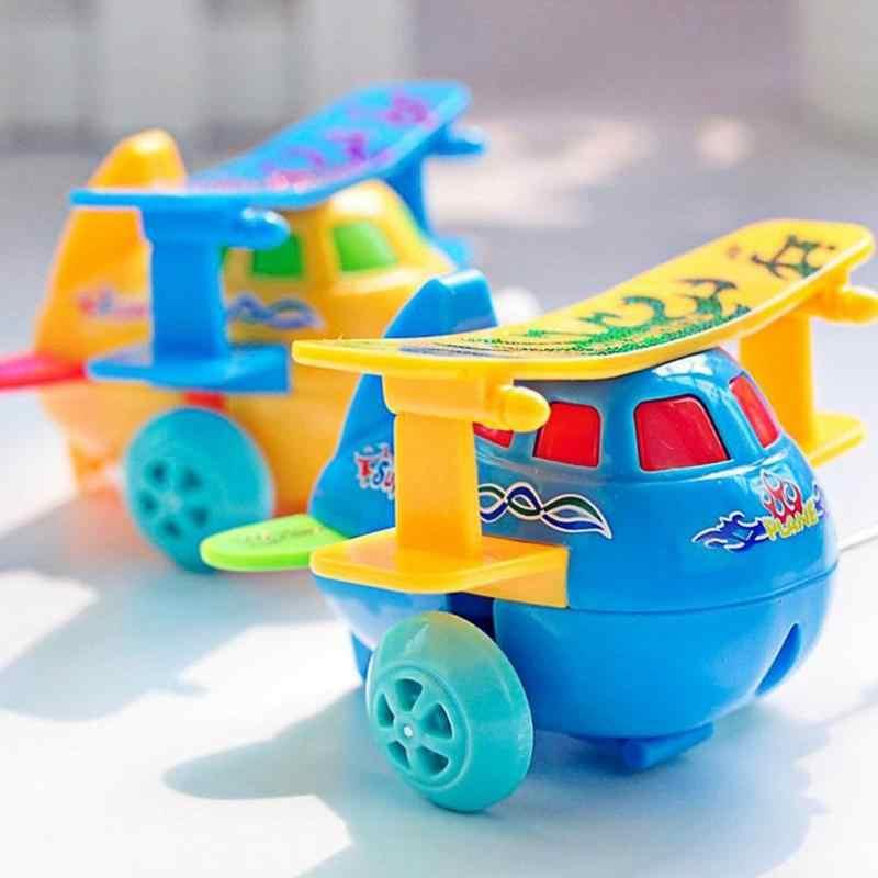 Correndo Clockwork Toy Crianças Dos Desenhos Animados helicóptero Modelo De Avião de Plástico Wind Up Brinquedos Clockwork Brinquedos Presente Das Crianças navio Cor Aleatória