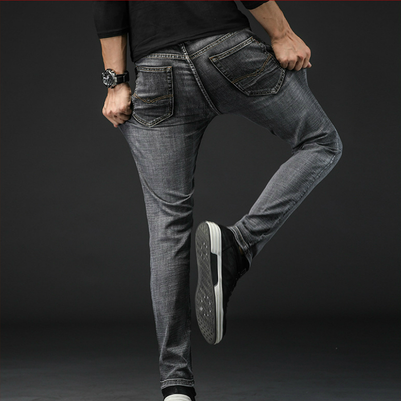 New Fashion Mens Jeans Stretch Business Plus Size Pants Mens Casual Streetwear Skinny Jeans Men Black Blue Ropa De Hombre 2019 in Jeans from Men 39 s Clothing