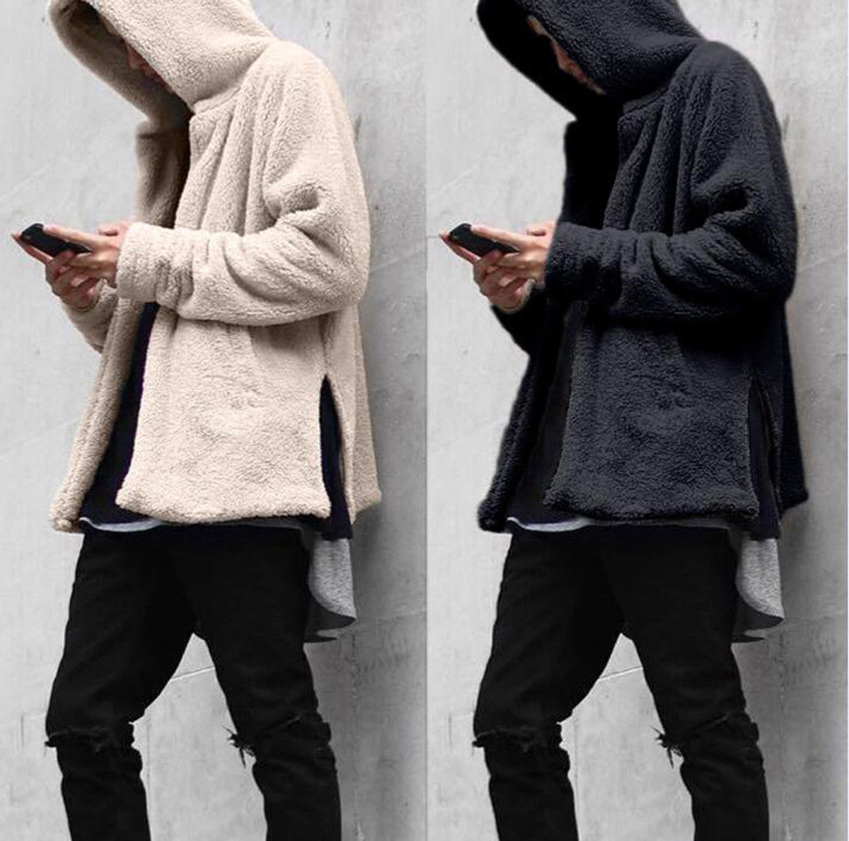 Fashion Men Winter Hoodie Warm  Long Sleeve Solid Pockets Fleece Fur Hooded Sweatshirt Coat Jacket Clothes