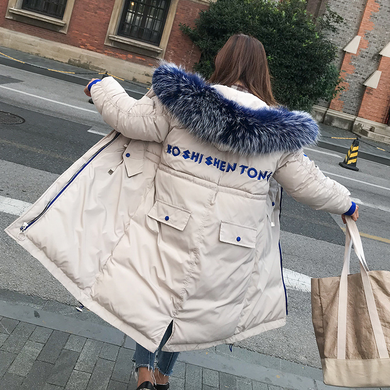 New Autumn Winter   Parkas   Hooded Big Large Fur Collarcoat Students Thick Bread Coat Female Outwear Plus Size Casco Femminos Coat