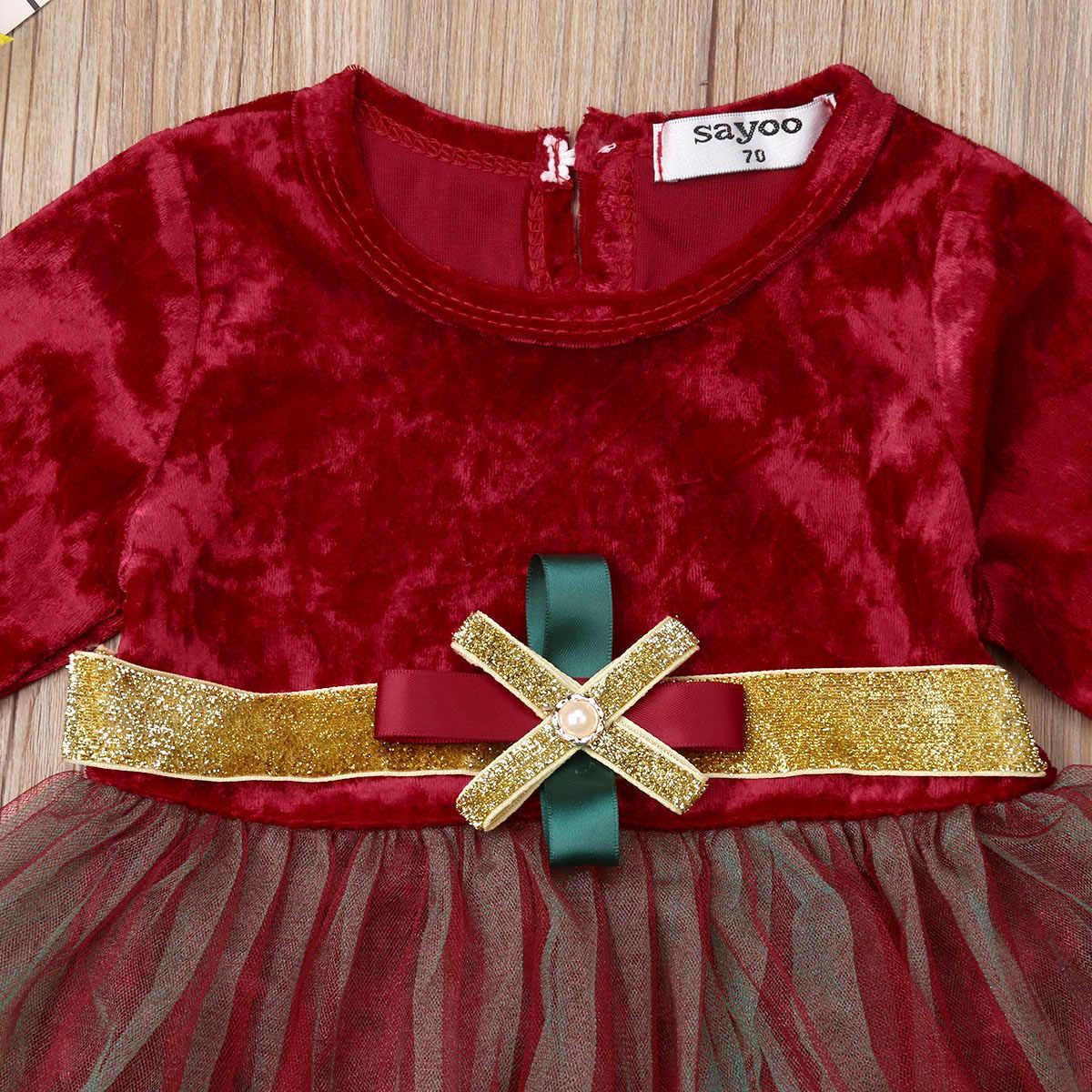 Рождественское Тюлевое платье для новорожденных девочек комбинезоны с длинными рукавами, комбинезон, наряды детская зимняя одежда красного цвета