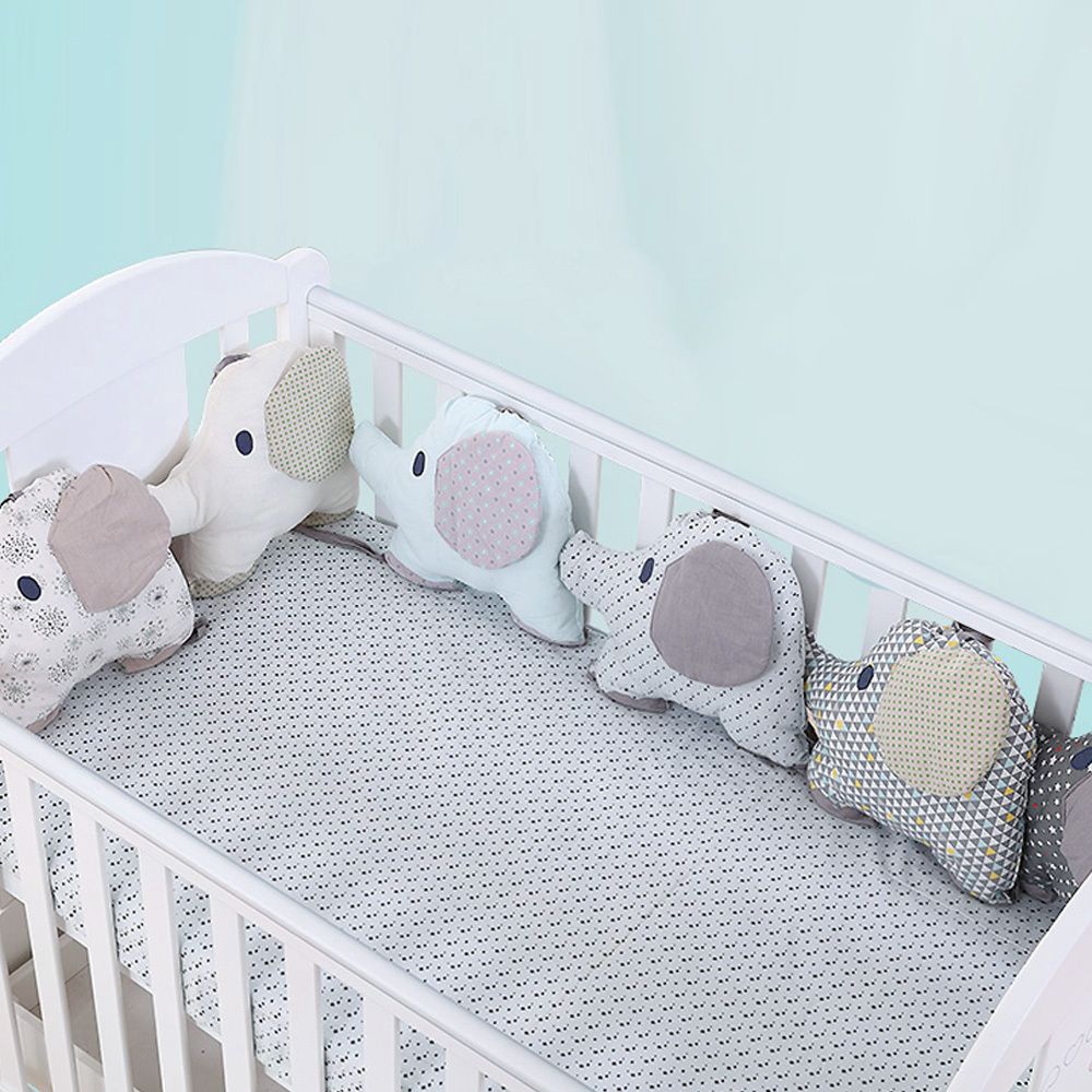 6pcs Baby Bed Bumper Flexible Backrest Cushion Aimal Elephant Crib Bumper Soft Infant Bed Around Protection Pad Baby Bedding Set