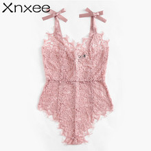 Xnxee Ribbon Tie Shoulder See Though Floral Lace Bodysuit Ladies Sexy  Sleeveless V Neck Cute