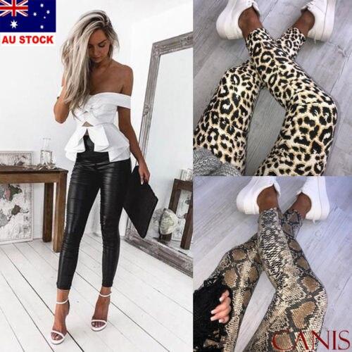 AU Women Ladies Leopard Snake Animal Print High Waist Stretchy   Leggings   Pants