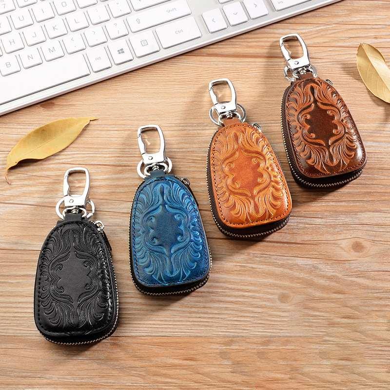 Osmond Female Key Wallet Men Women Genuine Leather Car Key Holders Housekeeper For Men Retro Multifunctional Home Keychain Case