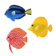 Рыбный орнамент, украшение для аквариума, искусственные рыбки, светящиеся тропические рыбки, Декор, Силиконовые Поддельные рыбки, плавающие, яркий пейзаж