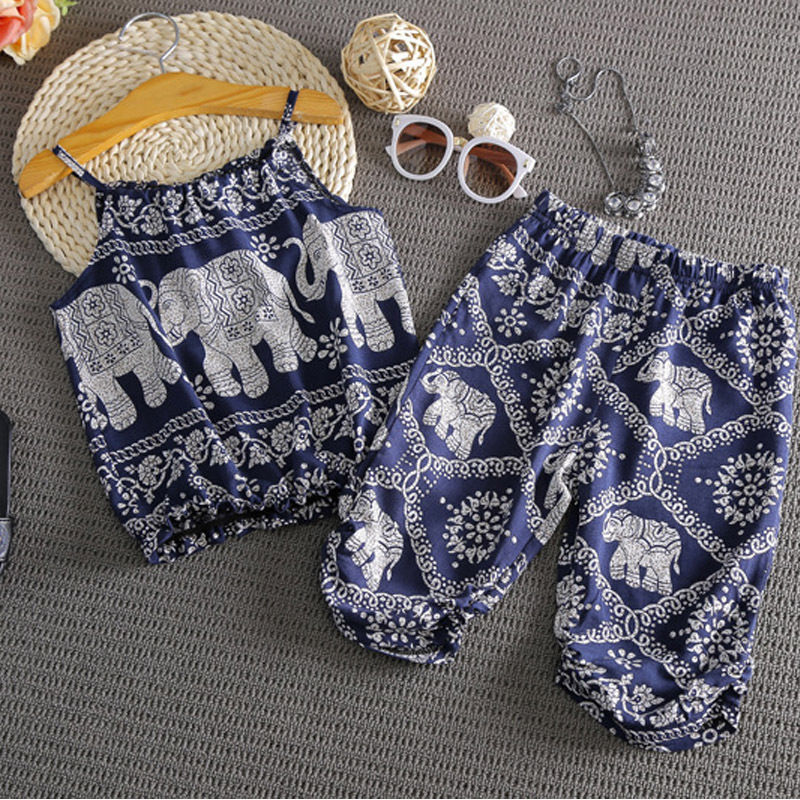 Summer Infant Cute Baby Kids Girls Clothes Vest+Harem Pants Tops Sleeveless 2pcs Outfits