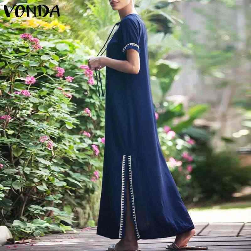 1a610cf48175e VONDA Plus Size Women Boho Dress 2019 Summer Casual Sexy V Neck Short  Sleeve Split Hem Soild Printed Maxi Dress Elegant Vestidos