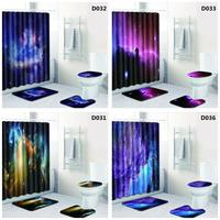 4Pcs/Set Mysterious Starry Printing Bathroom Shower Curtain Mat Rug Cover