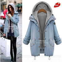 autumn and winter new loose thin denim jacket women's jacket hooded denim two piece women fashion O8R2