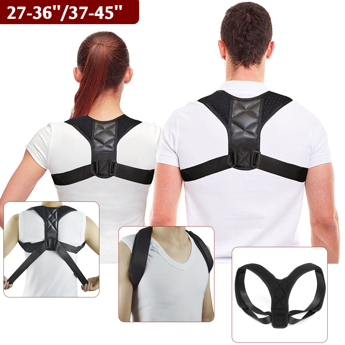 Male Female Adjustable Therapy Body Wellness Posture Hump Corrector Breathable Shoulder Lumbar Brace Support Belt 27-36/37-45Male Female Adjustable Therapy Body Wellness Posture Hump Corrector Breathable Shoulder Lumbar Brace Support Belt 27-36/37-45