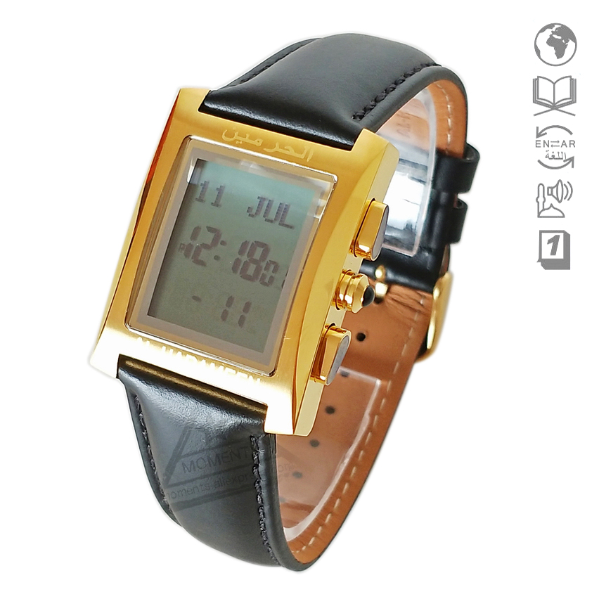 Digital Watches Men's Watches Muslim Prayer Wristwatch With Qibla Compass 6208 Rectangle Watch For Muslim With Prayer Alarm & Azan Time