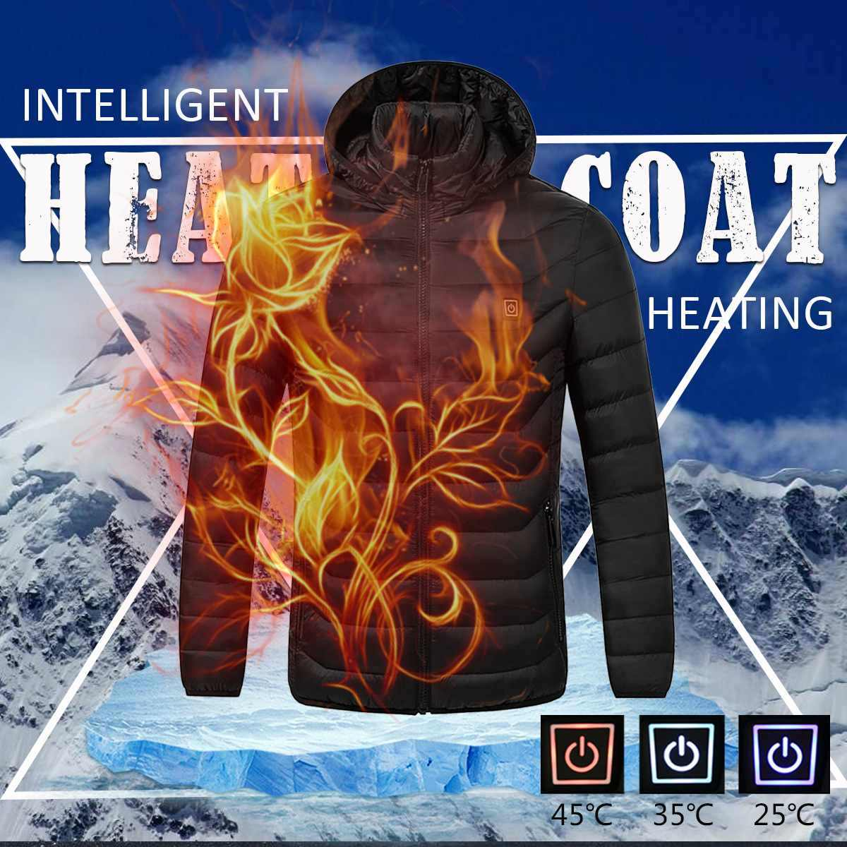 新ユニバーサル冬電熱フード付きコートジャケット温度制御 USB 腹部背面インテリジェント安全ベスト服