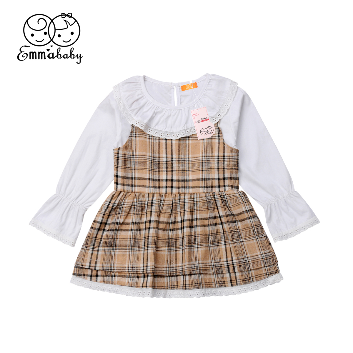 Sweet Vintage Kids Baby Girl Retro Christmas Thanksgiving Lace Plaid Party Dress