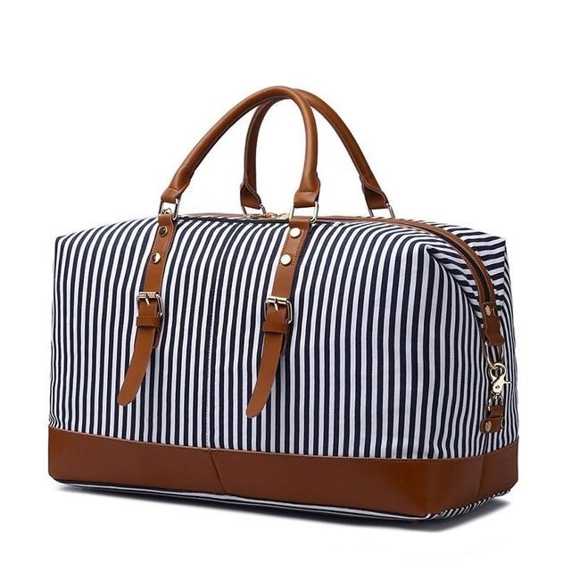 מטען אופנה פס הדפסי תיק טיול חד כתף תרמיל בד מקרית Travelling תיק גדול אריזה כיסים נוספים