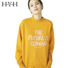 HYH HAOYIHUI  2019 Fashion School Girl Half-high Collar Letter Print Oversize Top Casual New Arrival Hoodie