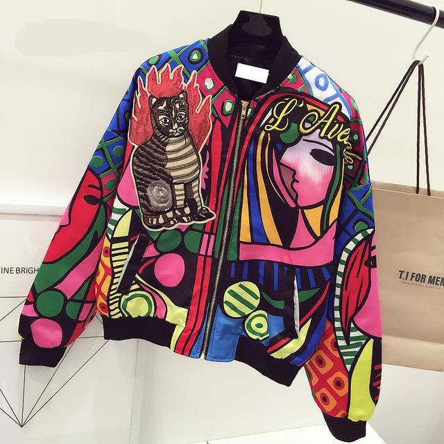 Queen Embroidery Bomber   Jacket   Women Harajuku Cat Pilot   Jacket   Graffiti short Coat 2019 Casual Printed   Basic   Baseball Outwear