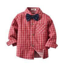 VTOM  Hot Sale Toddler Baby Boys Shirts Kids Plaid Long-Sleeve Bow Tie Gentleman Tops Childrens Clothing XN63