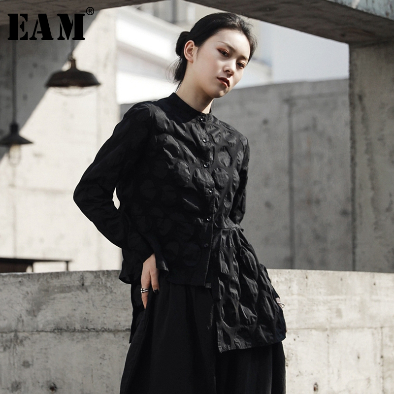[EAM] 2019 New Autumn Winter Lapel Long Sleeve Black Dot Three-dimensional Irregular Hem Loose Shirt Women Blouse Fashion JR394