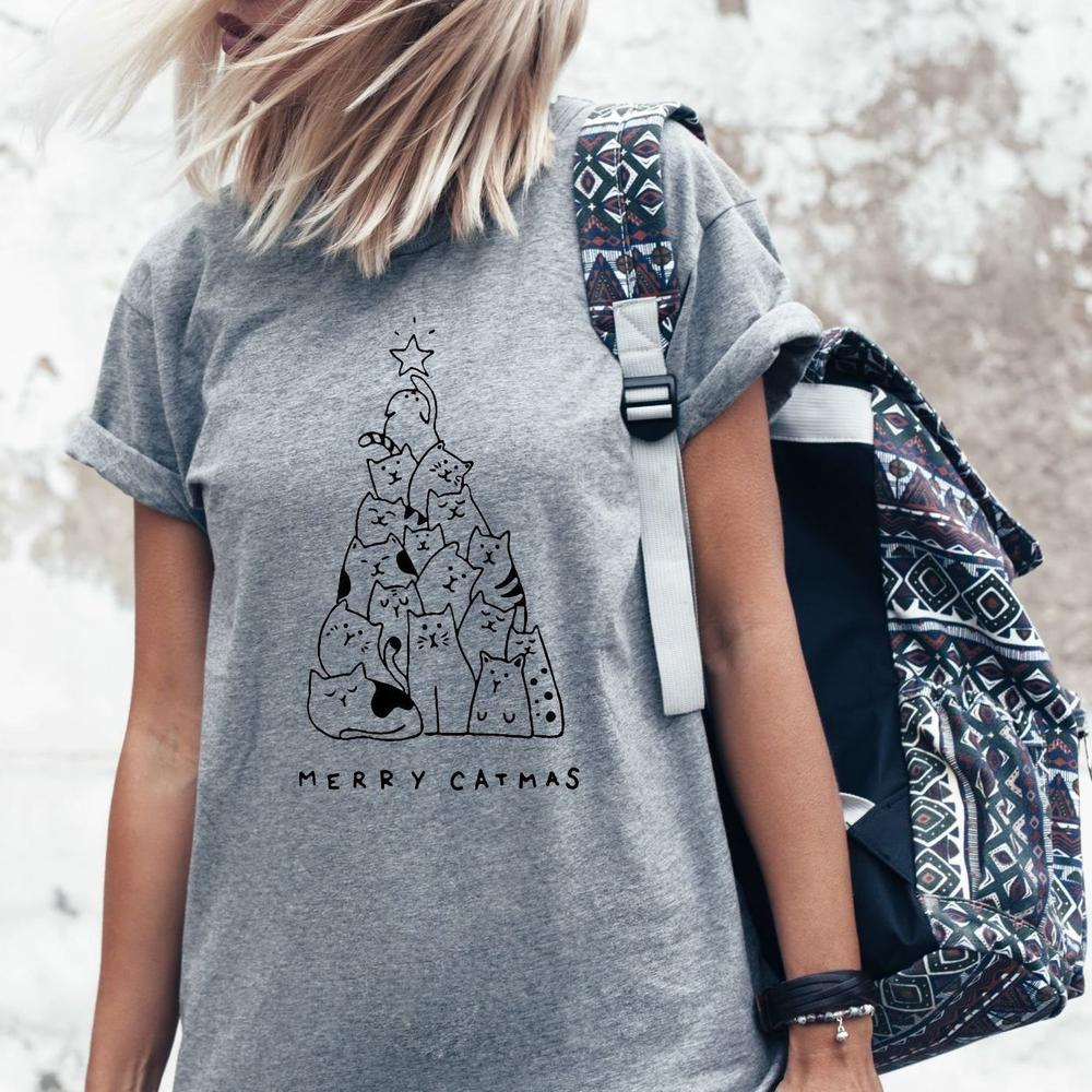 Frohe Catmas T-Shirt Frauen Grafik T Shirt Frohe Weihnachten Kurzarm Tops Kitty Weihnachten Bäume Baumwolle Äußere Wear Tees