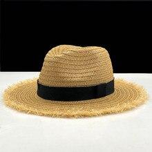 女性ナチュラルワイドつばバリラフィアわら帽子フリンジ女性無地大ビーチ夏の太陽キャップわらキャップ55-58センチメートル