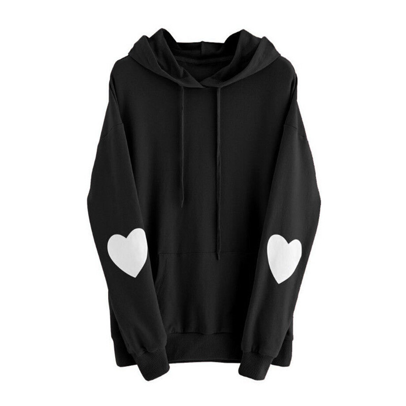 Autumn New Trendy Women clothes Long Sleeve pullover cotton Tops pocket Hooded heart print Sweatshirts one pieces