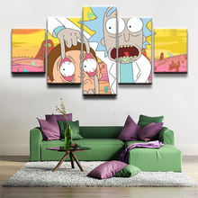 Modern Animated Science Fiction Comedy Pictures Wall Art Canvas Prints 5 Pieces Rick And Morty Poster For Kids Room Decor Frame