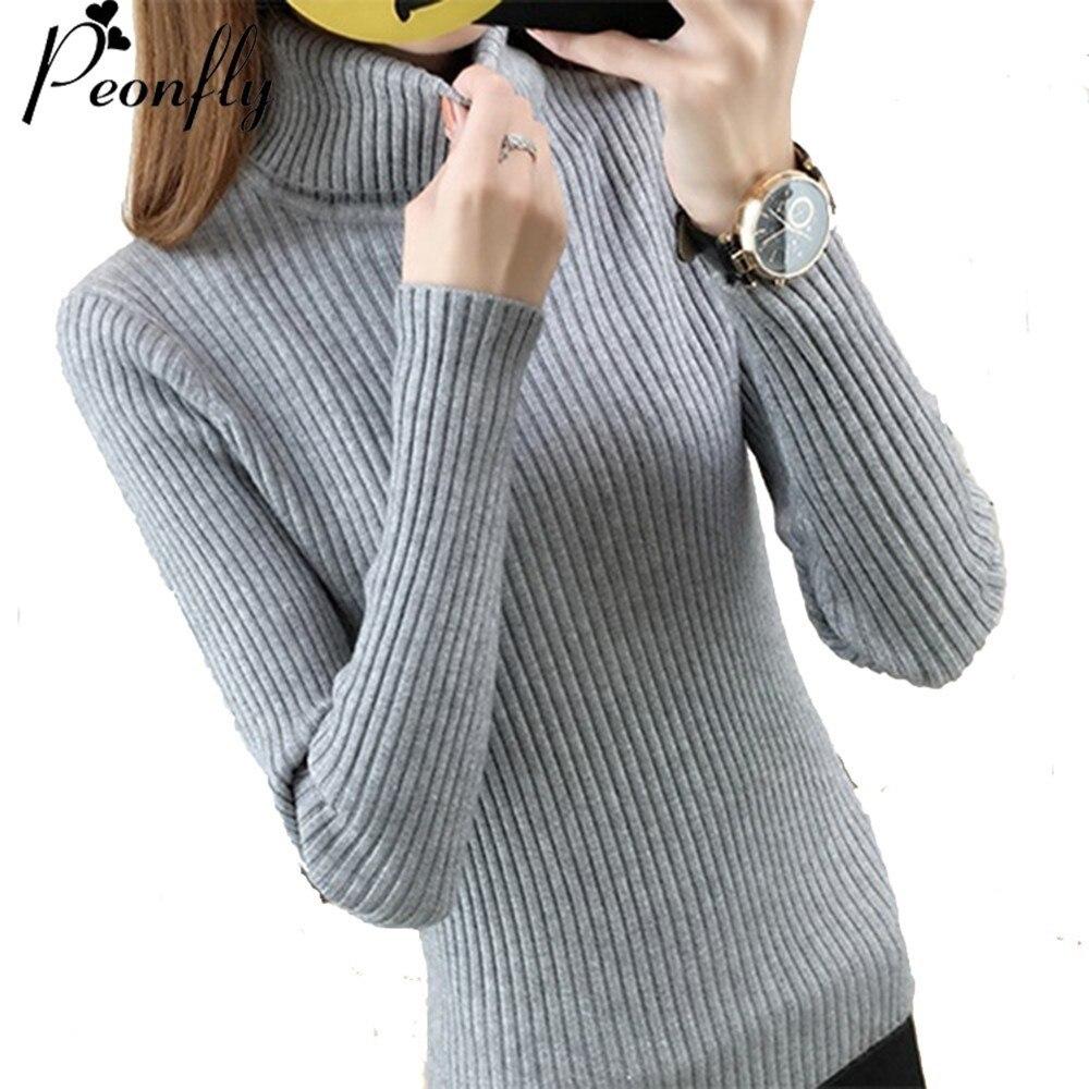 Peonfly tejer suéteres suéter chompas de lana para cuello alto manga larga jerseys de vestido invierno sweter chaqueta jerseis mujer de las mujeres de color sólido casual engrosamiento de ropa femenina blusas jumpers 1
