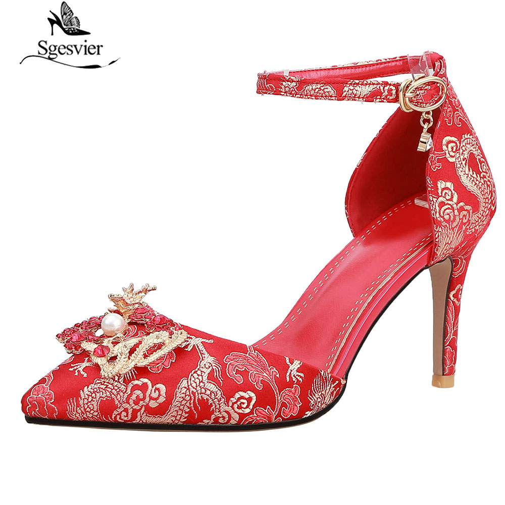 8b0386835083 Sgesvier 2019 New Fashion Sexy Women Rhinestone Wedding Shoes Platform Pumps  Red Thin High Heels Crystal Shoes summer shoes G42-in Women s Pumps from  Shoes ...