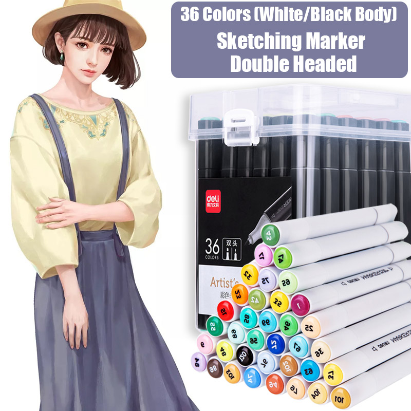 Deli 36 Colors Manga Sketching Marker Dual Headed Art Markers Alcohol Based Brush Pen For Drawing Stationery Office Art SuppliesDeli 36 Colors Manga Sketching Marker Dual Headed Art Markers Alcohol Based Brush Pen For Drawing Stationery Office Art Supplies