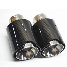 2Pcs Glossy Real Carbon Fiber Car Exhaust End Tips for BMW 63cm in, 105cm out With M Logo