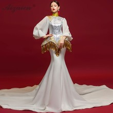 Vintage Style Wedding Dress Chinese Evening Dresses Long Bell Sleeve Trailing Tassel Embroidery Cheongsam White Mermaid Gown